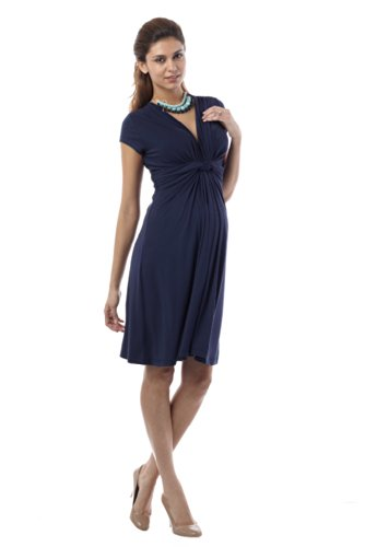 Seraphine Jolene Knot Front Maternity And Nursing Dress - Short Sleeve - Navy - - Kate Middleton Maternity