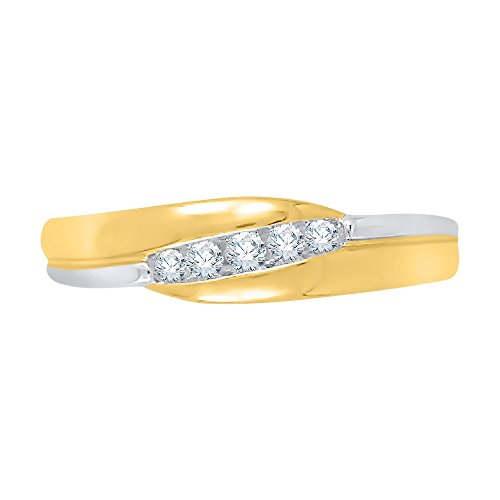 - KATARINA Diamond Fashion Ring in 10K Two Tone Gold (1/8 cttw, J-K, SI2-I1) (Size-4.25)