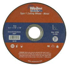 4 1//2 in Diameter - 60 GRIT FINE Grade 7//8 in Center Hole WEILER Aluminum Oxide Cutoff Wheel 1//16 in Thickness Straight Type 1 56103