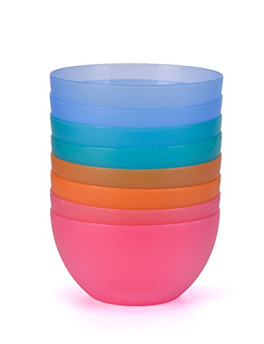 Plastic Bowls set of 8 in 4 Assorted Colors 6 Inch BPA Free For Cereal, Soup, Rice, Salad By AYT by AYT