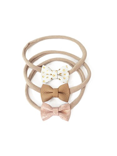 Indie Bow Co Handmade Genuine Leather Micro Mini Bow Headbands Set of 3 in White with Gold Dots, Light Tan, Sparkle Pink Blush