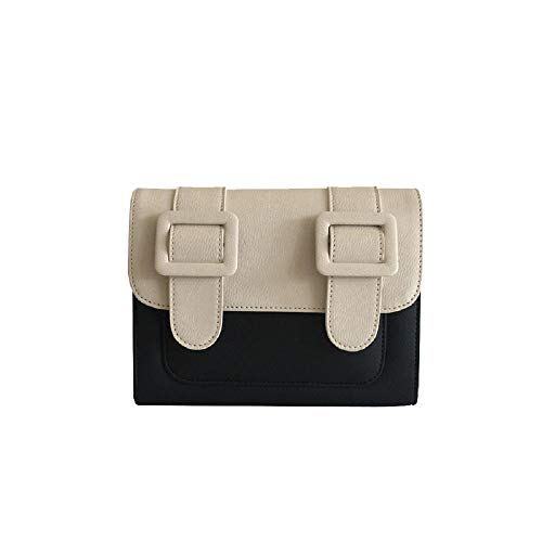 Bolso de hombro de moda para mujer Classic Colorblock College Wind Cambridge Bag Wild Messenger Bag Leisure Commuter Crossbody Bag-Color blanco y negro a j