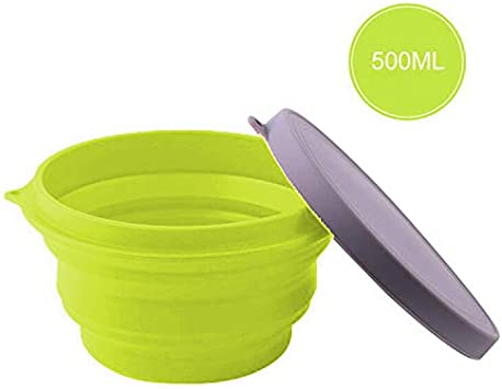 3 Pack Collapsible Silicone Bowl with Lid Silicone Folding Travel Bowl with Lids for Outdoor Camping Hiking and Indoor Home Kitchen School Student Travel Office Space-Saving Food-Grade
