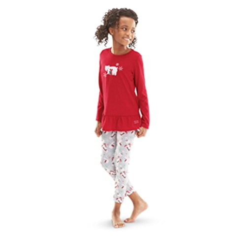 (American Girl Truly Me Playful Polar Bear Pajamas for Girl Large 14/16 Red PJs NEW)