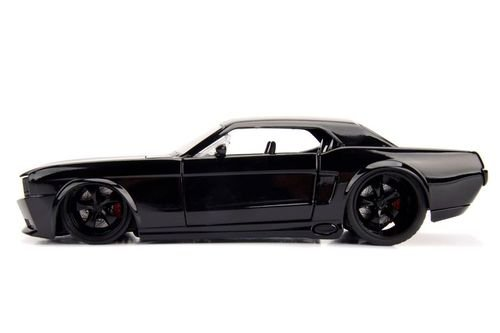 NEW 1:24 W/B JADA TOYS BIGTIME MUSCLE COLLECTION - 1965 Ford Mustang Black with Matte Black Stripes Diecast Model Car By Jada Toys