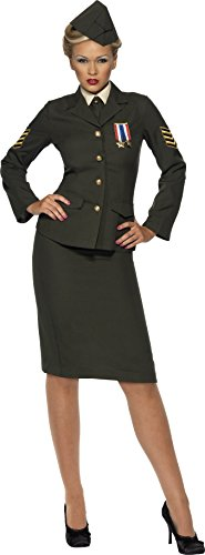 [Smiffy's Women's Wartime Officer Costume Skirt Jacket with Medal Shirt Front Tie Hat, Green, 2X] (Military Costumes For Women)
