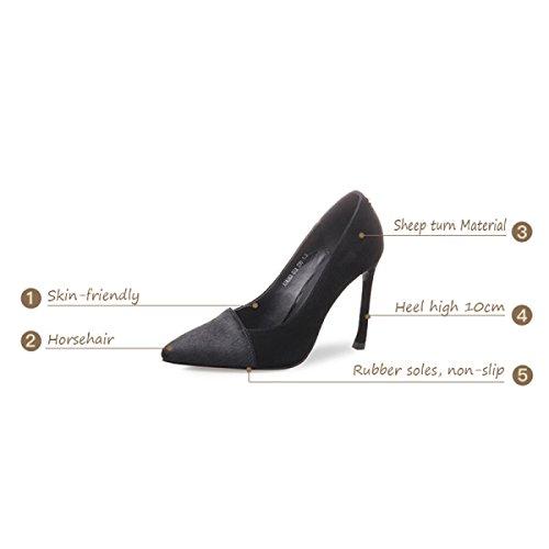 Stilettos 10cm Chaussures Palais Bouche Peu Talons Femmes Profonde Chaussures Sexy Noir Printemps Black Crin Mesdames Cuir Hauts En qgRpfzTz