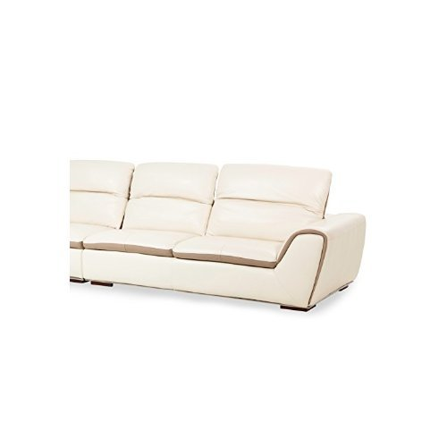 Michael Amini Vanuto Leather Right Arm Facing Sofa, Armless Chair and Left Arm Facing Chaise Lounge, Eggshell/Taupe/Stainless Steel