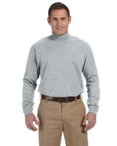 Devon & Jones Mens Sueded Cotton Jersey Mock Turtleneck (D420) -GREY HEATH -2XL