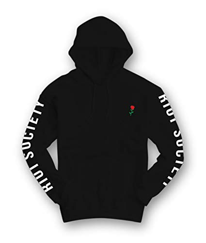 Riot Society Rose Embroidered Mens Graphic Pullover Hoodie Sweatshirt - Black, -
