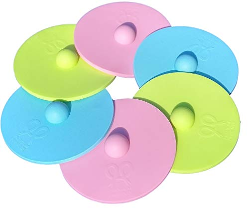 Maintenance free silicone airlock waterless fermentation lids for wide mouth mason jars. BPA free, mold free, dishwasher safe. 6 pack. Premium Presents. pink green blue