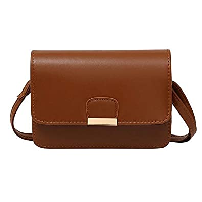 f8e23297388 Amazon.com  Bags For Women Casual Simple Messenger Crossbody Bag Small  Square Black Leather Bag Bolsos Mujer Female Handbag Tote Color Light Brown   Shoes