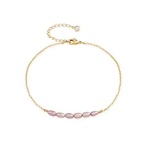 Violet Freshwater Cultured Pearl - Mevecco Gold Dainty Pearl Anklet,18K Gold Plated Tiny Cute Freshwater Cultured Purple/Violet Boho Beach Bead Foot Chain Minimalist Simple Ankle Bracelet for Women