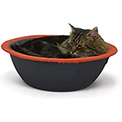 Hepper - Nest Cat Bed - Modern Designer Pet Furniture for Cats and Small Dogs - Removable + Washable Fleece Liner - Grey/Orange