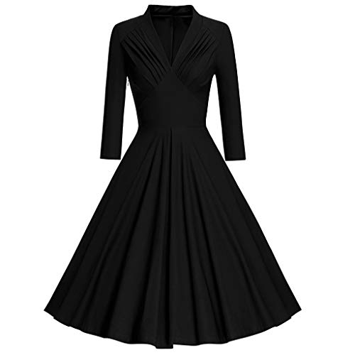(Todaies Fashion Womens Long Sleeve Vintage Dress Solid V-Neck Retro Swing Party Dress)