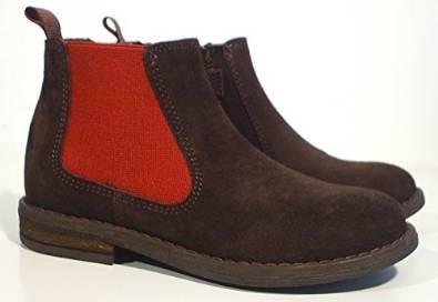 acebos Leder Stiefel Chelsea Boots Reißverschluss braun rot