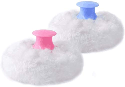 2pcs-Baby Body Cosmetic Powder Puff Kit Sponge Box Case Container(Blue&Pink)
