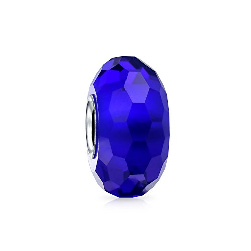 Royal Blue Faceted Murano Glass 925 Sterling Silver Core Spacer Bead Fits European Charm Bracelet For Women For Teens
