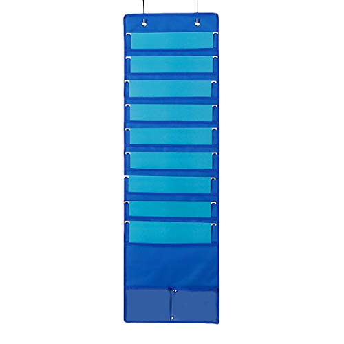 Uplord 10 Pocket Hanging Wall File Organizer,Organize Your Assignments,Files,Scrapbook Papers,Perfect File Folder Holder for Classroom,Home,Business,Office (Blue)