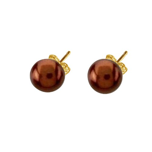 8mm AAA Freshwater Cultured Chocolate Pearl Button Stud Earrings 10K Yellow Gold