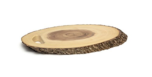 Lipper International 1029 Acacia Oval Tree Bark Server with Handle for Canapés and Hors D'oeuvres, 19.5