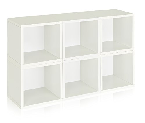 [Way Basics Eco Stackable Modular Storage Cubes (Set of 6), White (made from sustainable non-toxic zBoard paperboard)] (Way Basics Cube)