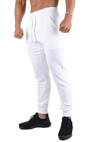 YoungLA Joggers Pants for Men Slim Fit Casual Lounging Gym Sweatpants 220 White X-Large (Workout Pants Men White)