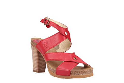 Fly London Women Boxy245fly Heeled Sandal Lipstick Red Mousse