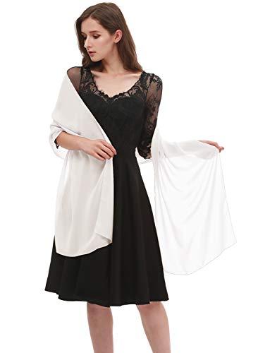 Emondora Women's Sheer Chiffon Bridal Wedding Evening Dress Shawls Scarves Ivory M