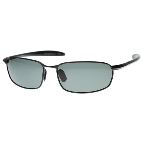 zeroUV - Polarized Metal Wire Square Frame Sunglasses (Black)