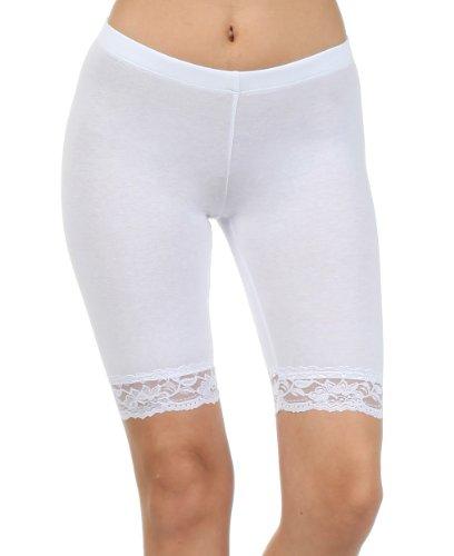 Sakkas 460060 Cotton Lycra Blend Lace Trim Stretch Bike Shorts - Made in USA - White - L