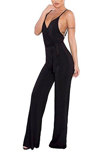 Silk Jumper (MS Mouse Womens Spaghetti Strap Jumpsuit V Neckline Comfy One Piece Romper L)