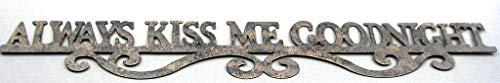"Rustic Always Kiss Me Goodnight Tin Metal Sign Metal Wall Art Kids Bedroom Home Decor 24"" L"
