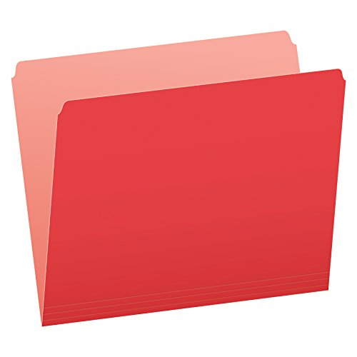 Pendaflex Two-Tone Color File Folders, Letter Size, Red, Straight Cut, 100/BX (152 RED)