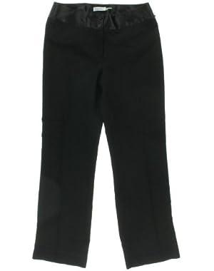 Calvin Klein Women's Satin Waist Dress Pants, Black, 2