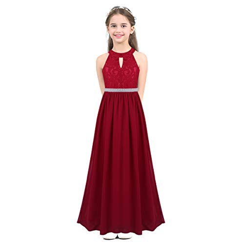 Flower Beaded Formal Gown - iEFiEL Girls Halter Lace Chiffon Flower Wedding Bridesmaid Dress Junior Ball Gown Formal Party Pageant Maxi Dress Burgundy Beaded Waist 10