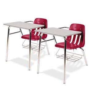 Nebula 30h Gray Tables (Virco 9400 Series Chair Desk, 21W X 33-1/2D X 30H, Gray Nebula/Red, 2/Carton)