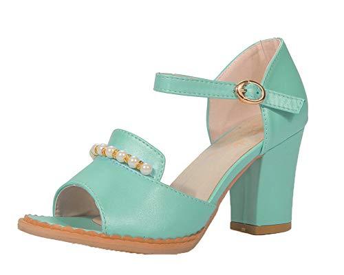 VogueZone009 Women High-Heels Solid Buckle Pu Open-Toe Sandals, CCALP015211 Blue