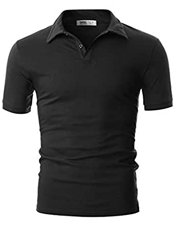 OHOO Mens Slim Fit Short Sleeve Plain Polo Shirt in Pure Cotton - Black - Small