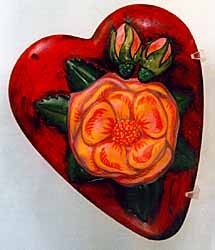 Vaillancourt Folk Art Red Heart with Pink Rose