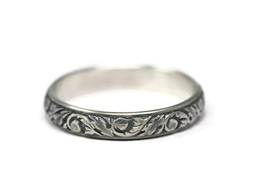 Vine Pattern 925 Sterling Silver Ring Antique or Polished Finish