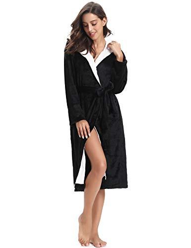 Y 1 Kimono Mujer Baño Batas Negro Invierno Agradable Aibrou Albornoz RSqYq