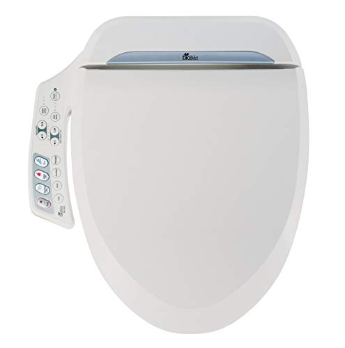 (Bio Bidet Ultimate BB-600 Advanced Bidet Toilet Seat, Elongated White. Easy DIY Installation, Luxury Features From Side Panel, Adjustable Heated Seat and Water. Dual Nozzle Has Posterior and Feminine Wash)