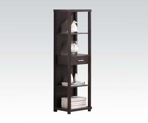 Brand New Hinto 19 X15x64h Espresso Finish Shelf W  Drawer