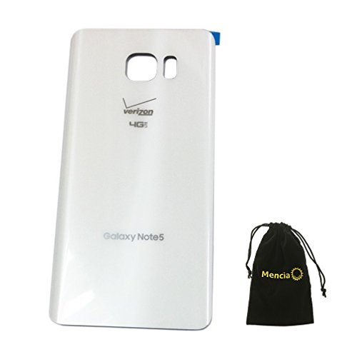 - Mencia Acrylic Glass Back Battery Housing back door for Samsung Galaxy Note 5 Verizon N920v(White)With Adhesives