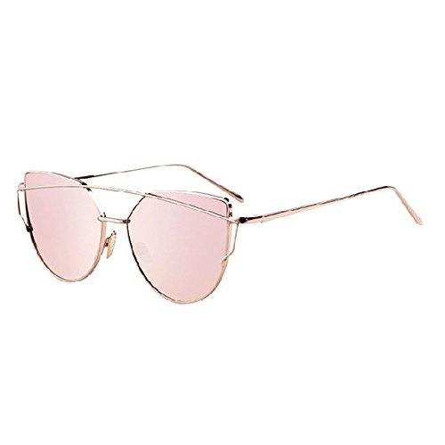 con Protección Pink Hombre la Caja Rojo Colores 400 la Gafas Sol LVZAIXI UV de Sunglasses del Mujer para la Aviador para Elegante Lente polarizadas de Color de CxPgcAWqwF