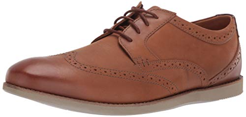 CLARKS Men's Raharto Wing Oxford, Dark tan Leather, 115 M - Clarks Dress Shoes