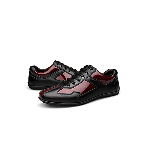 Genuine Leather Man Fashion Sneakers Size Plus Big Size 39 48 Black/Red Man Casual Dress Shoes,Black Red,13