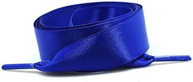 TMYQM 1対22色のシルクサテン靴ひも2 cm幅フラット靴ひもブーツ女性スニーカー靴ひもの長さ80CM 100CM 120CM (Color : Royal blue, Size : 80cm)