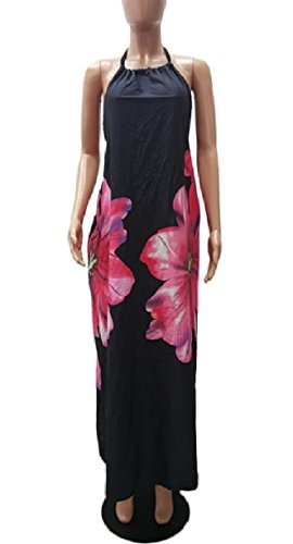 Jaycargogo Dos Nu Dos Nu Féminin Floral Fête Robe Wrap Maxi D'impression Noir